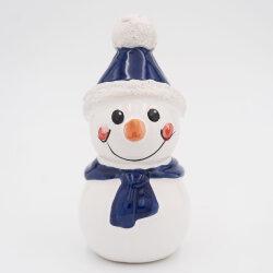 Tangoo Keramik Schneemann mit Mütze und Schal blau /...