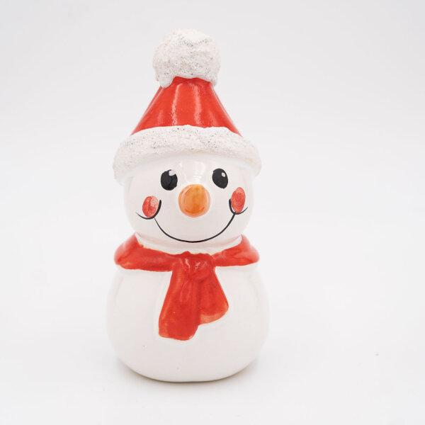 Tangoo Keramik Schneemann mit Mütze und Schal rot / Gartenstecker