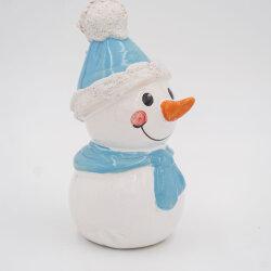 Tangoo Keramik Schneemann mit Mütze und Schal helblau / Gartenstecker