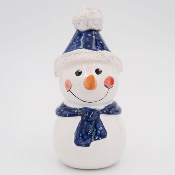 Tangoo Keramik Schneemann mit Mütze und Schal blau kristall / Gartenstecker