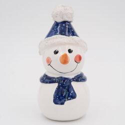 Tangoo Keramik Schneemann mit Mütze und Schal blau...