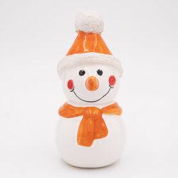 Tangoo Keramik Schneemann mit Mütze und Schal orange...