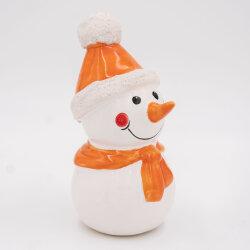 Tangoo Keramik Schneemann mit Mütze und Schal orange / Gartenstecker