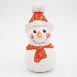 Tangoo Keramik Schneemann mit Mütze und Schal rot...