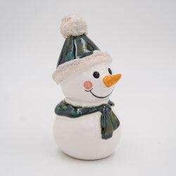Tangoo Keramik Schneemann mit Mütze und Schal...
