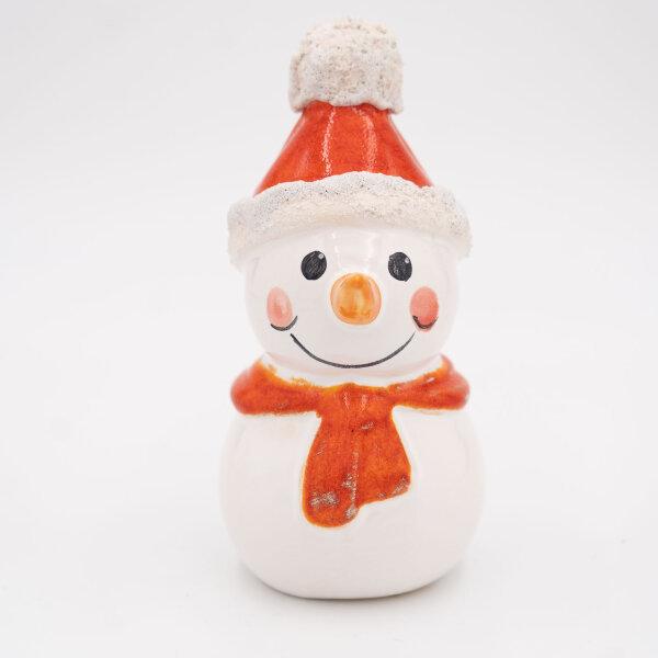 Tangoo Keramik Schneemann mit Mütze und Schal dunkelorange / Gartenstecker