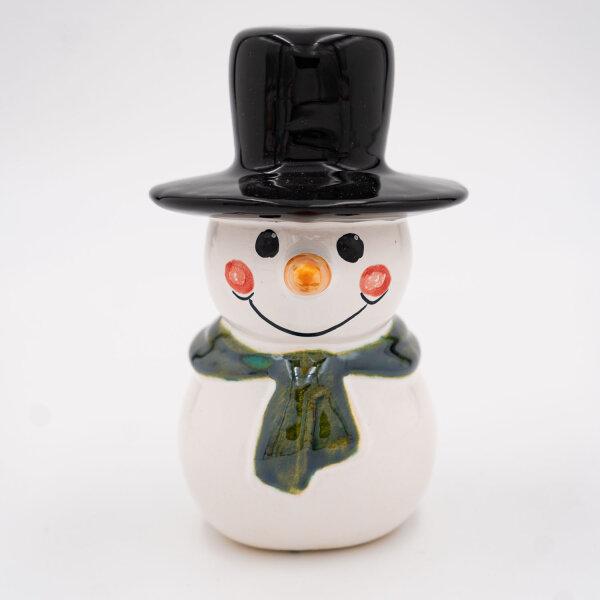 Tangoo Keramik Schneemann mit dunkelgrünem Schal und Zylinder / Gartenstecker
