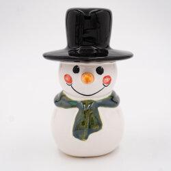 Tangoo Keramik Schneemann mit dunkelgrünem Schal und...