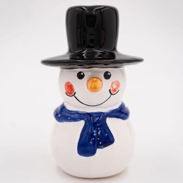 Tangoo Keramik Schneemann mit dunkelblauem Schal und Zylinder / Gartenstecker