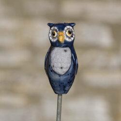 Keramik Eule für den Garten, klein blau-grau