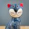 Tangoo Keramik Katze sitzend in blaugrau