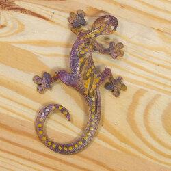 Gecko aus Metall 8cm rot/braun