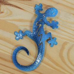 Gecko aus Metall 8cm blau