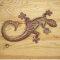 Gecko aus Metall 28cm rot/braun