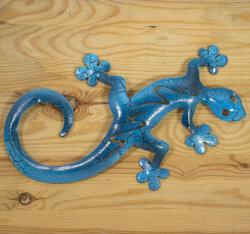Gecko aus Metall 28cm blau
